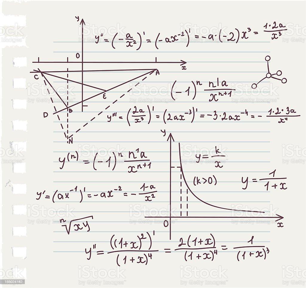 Algebra doodle background vector art illustration