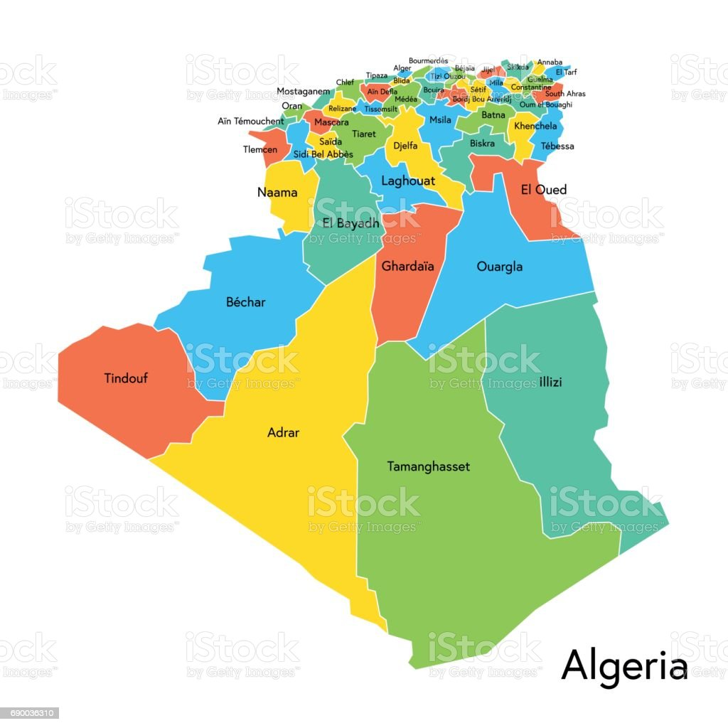 Algeria Color Map With Regions And Names Stock Vector Art & More ...