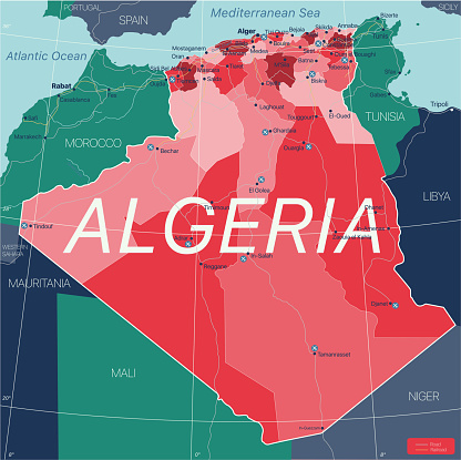 Algeria country detailed editable map