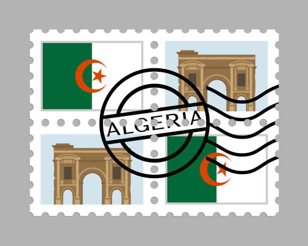 阿爾及利亞國旗和 timgad 郵票 - 阿爾及利亞 幅插畫檔、美工圖案、卡通及圖標