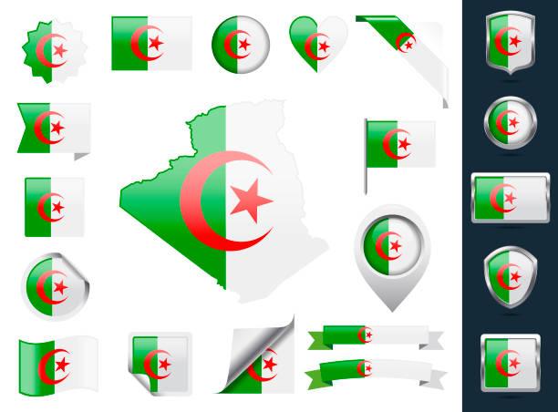 阿爾及利亞旗子設置。光澤圖示集合 - 阿爾及利亞 幅插畫檔、美工圖案、卡通及圖標