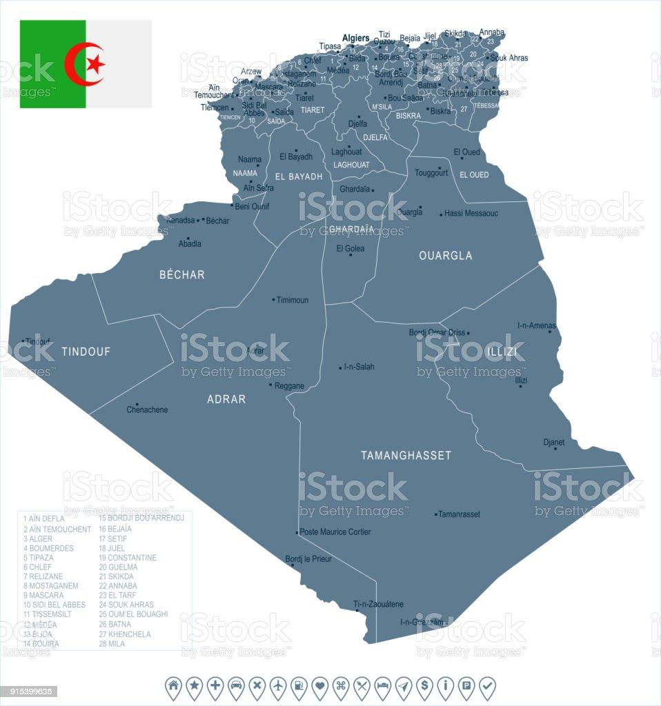 Carte Algerie Tipaza.Algerie Carte Et Drapeau Detaillees Vector Illustration Vecteurs