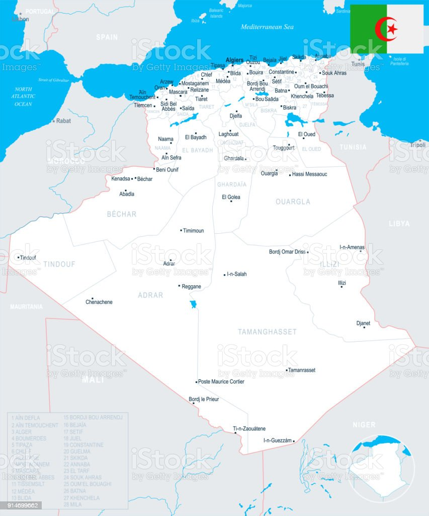 Algeria Map Detailed Vector Illustration Stock Vector Art & More ...