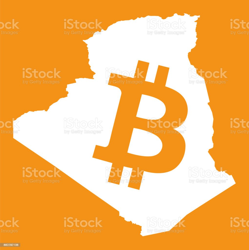 Algeria Map With Bitcoin Crypto Currency Symbol Illustration Stock