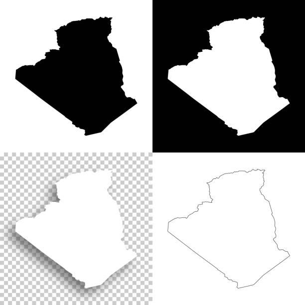 阿爾及利亞設計地圖-空白, 白色和黑色背景 - 阿爾及利亞 幅插畫檔、美工圖案、卡通及圖標