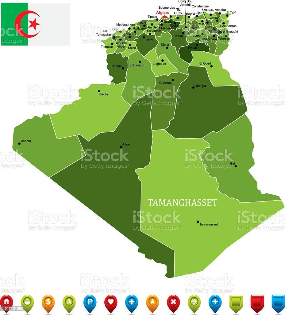 Algeria Map-Vector Illustration - 免版稅世界地圖圖庫向量圖形