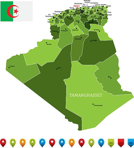 algeria map-vector illustration - 阿爾及利亞 幅插畫檔、美工圖案、卡通及圖標