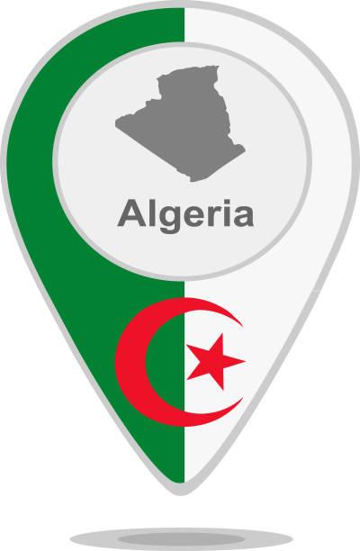 阿爾及利亞。帶有地圖和標誌的指標 - 阿爾及利亞 幅插畫檔、美工圖案、卡通及圖標