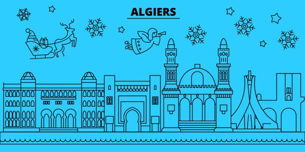 阿爾及利亞寒假天際線。聖誕快樂, 新年快樂用聖誕老人裝飾的橫幅。阿爾及利亞線性耶誕節城市例證 - 阿爾及利亞 幅插畫檔、美工圖案、卡通及圖標