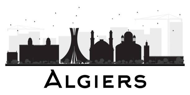 algiers city skyline black and white silhouette. - 阿爾及利亞 幅插畫檔、美工圖案、卡通及圖標