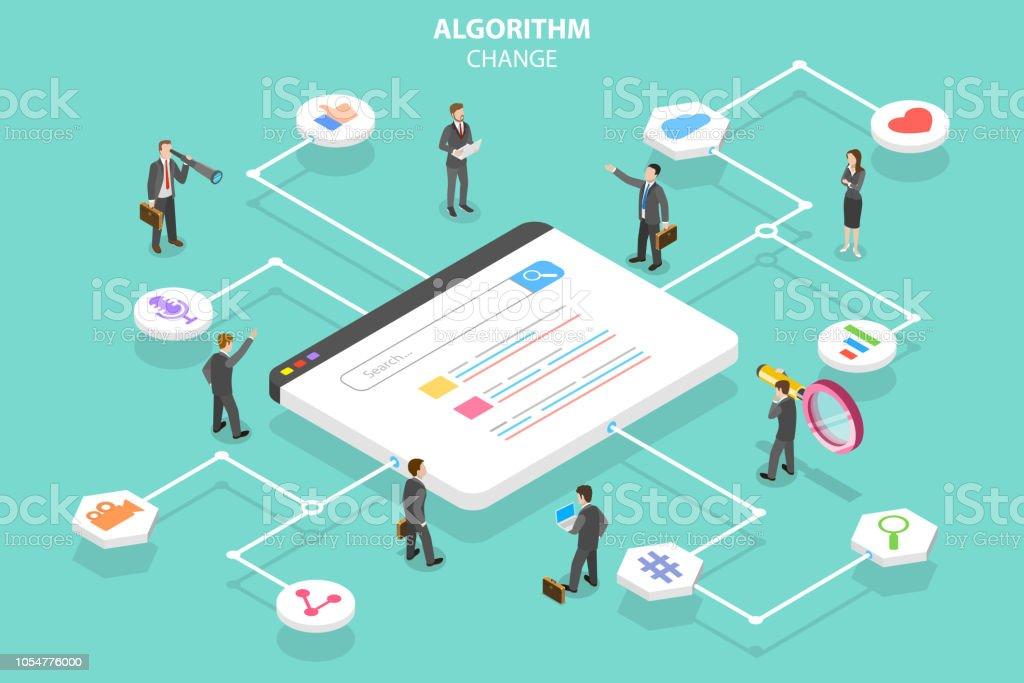 Algorithmus ändern isometrische flache konzeptionelle Vektorgrafik. – Vektorgrafik