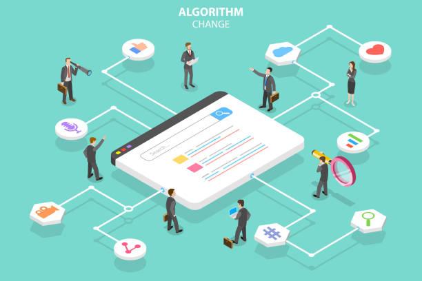 Algorithm change isometric flat vector conceptual illustration. Isometric flat vector concept of algorithm change, search engine optimization, seo, digital marketing. dictionary stock illustrations