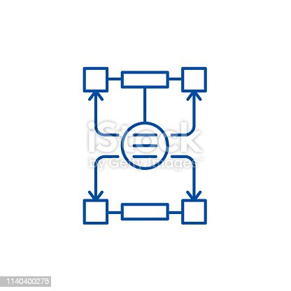 istock Algorithm of decisions line icon concept. Algorithm of decisions flat  vector symbol, sign, outline illustration. 1140400275