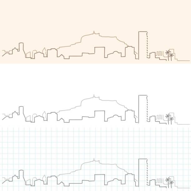 alicante hand gezeichnete skyline - alicante stock-grafiken, -clipart, -cartoons und -symbole