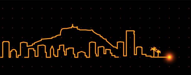 alicante leichte streifen skyline - alicante stock-grafiken, -clipart, -cartoons und -symbole