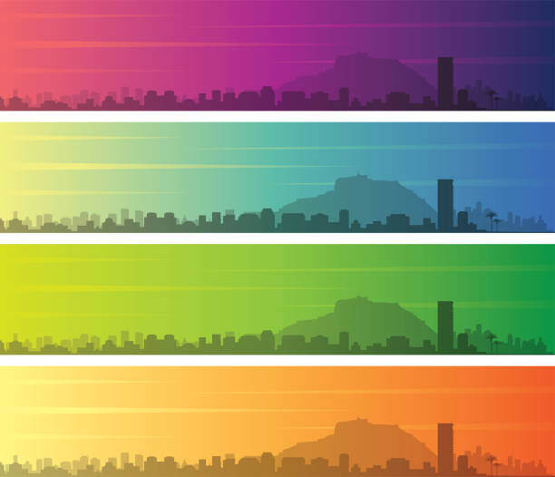 alicante mehrere farbe farbverlauf skyline banner - alicante stock-grafiken, -clipart, -cartoons und -symbole