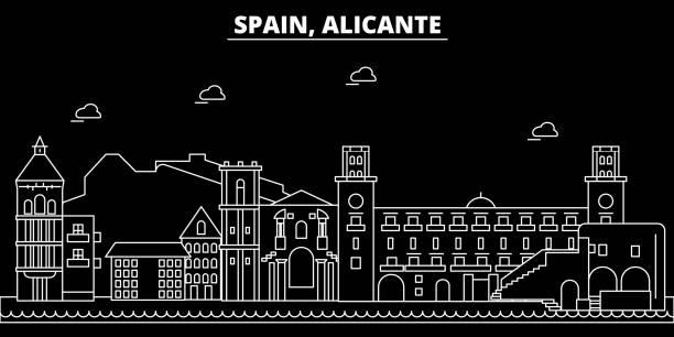 alicante silhouette skyline. spanien - alicante-vektor-stadt, spanische lineare architektur, gebäude. alicante reisen darstellung, gliederung wahrzeichen. flache symbol spanien, spanische linie banner - alicante stock-grafiken, -clipart, -cartoons und -symbole