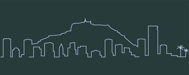 alicante einzeilige skyline - alicante stock-grafiken, -clipart, -cartoons und -symbole