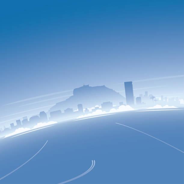 alicante skyline luftbild - alicante stock-grafiken, -clipart, -cartoons und -symbole