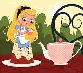 Alice drinking tea while sitting next to a teapot.
