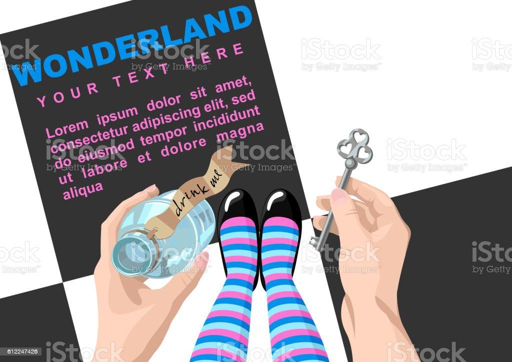 Alice in wonderland. Background vector art illustration