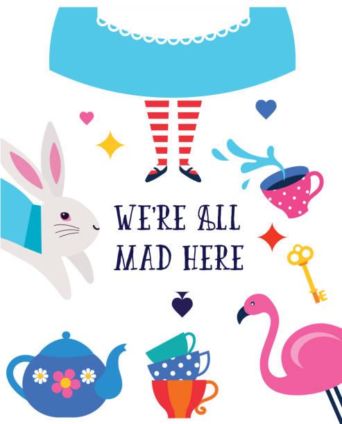 alice im wunderland-banner, poster und karte. wir sind verrückt hier - geistergeschichten stock-grafiken, -clipart, -cartoons und -symbole