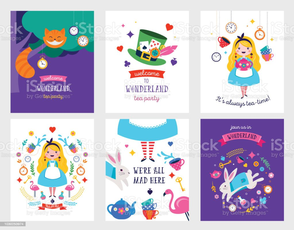 Alice in Wonderland banner, poster and card. We are mad here - illustrazione arte vettoriale