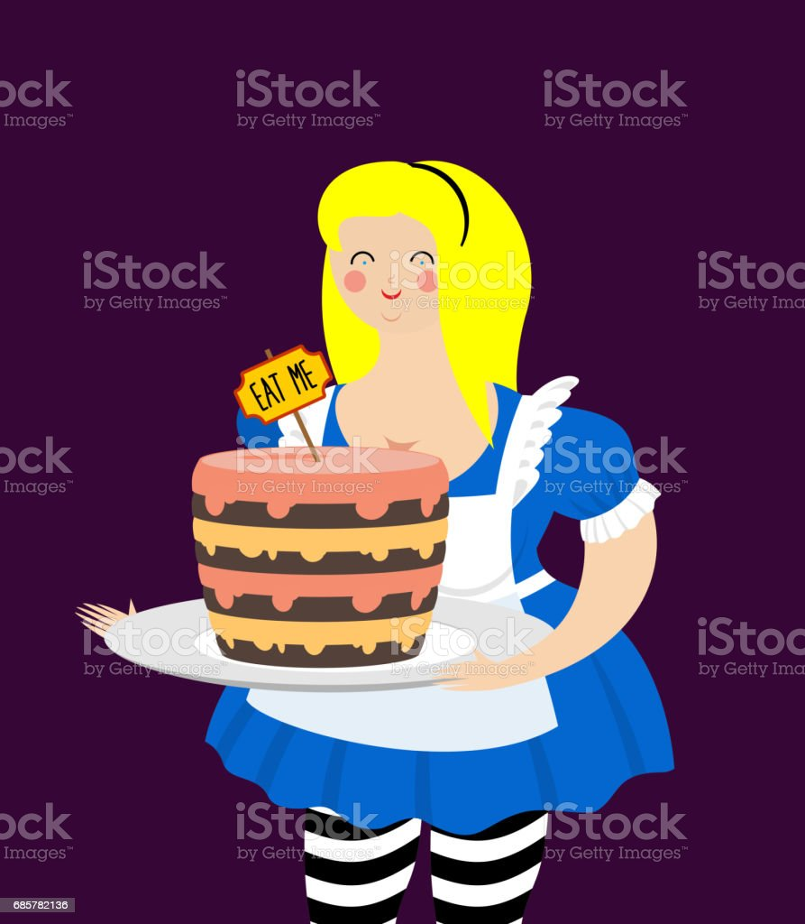 Alice in Wonderland. Cake eat me. Fat and old cheerful woman royalty-free alice in wonderland cake eat me fat and old cheerful woman stock vector art & more images of adult