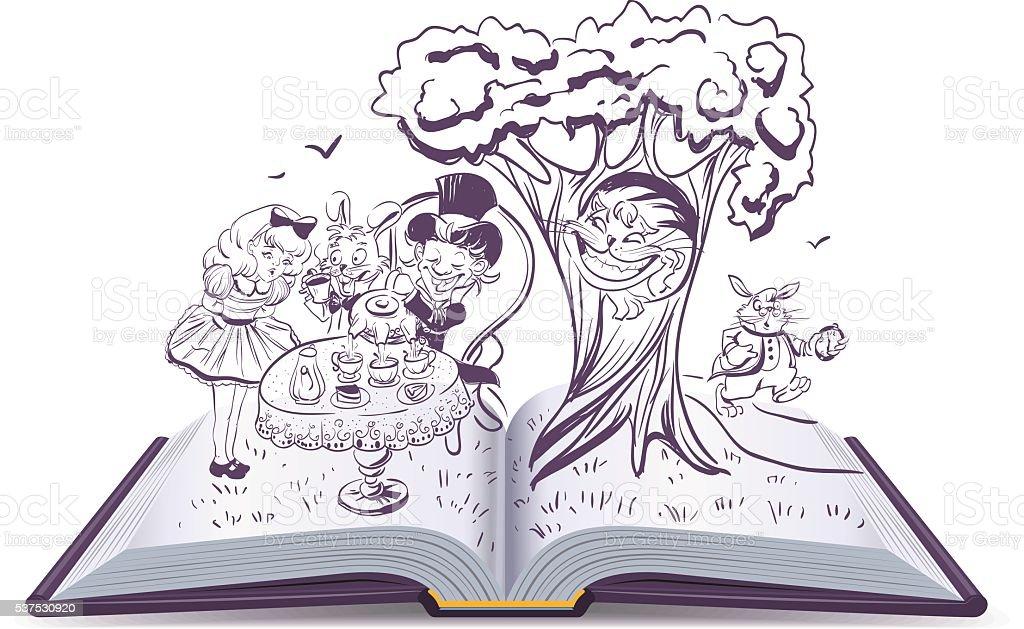 Alice nel paese delle meraviglie. Ragazza e coniglio bere tè - illustrazione arte vettoriale