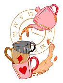 istock Alice in wonderland illustration with teapot and mugs. Crazy tea party background. 1194204346