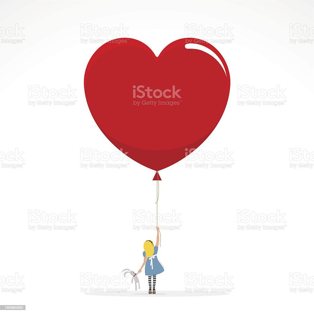 Alice in Wonderland invitation girl heart love illustration vector