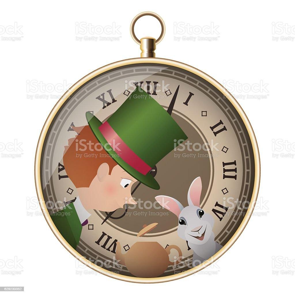 Alice in Wonderland. Mad tea party. Hatter and White Rabbit. vector art illustration