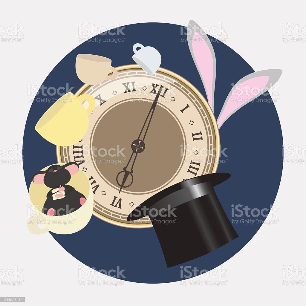 Alice in Wonderland. Mad tea party with Hatter, Dormouse, Rabbit. vector art illustration