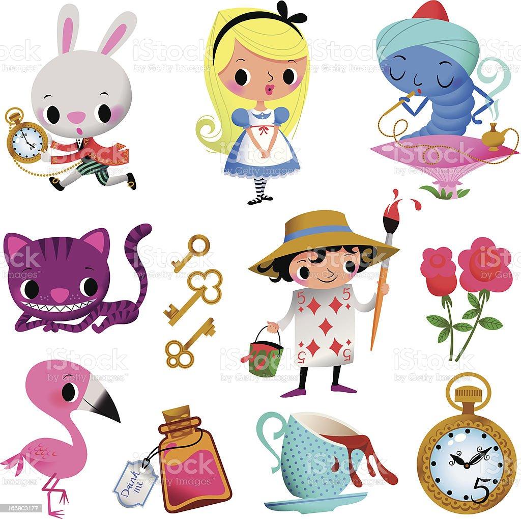 Alice in Wonderland. Part I. royalty-free alice in wonderland part i stock vector art & more images of adventure