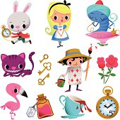 """Set of Symbols and Characters """"Alice in Wonderland"""". RGB, AI EPS 10. Use transparency and FEATHER Effect."""