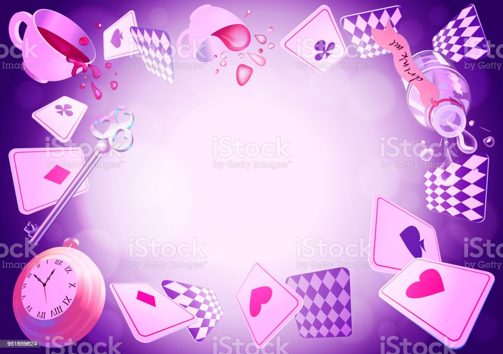 Alice in Wonderland. Playing cards, pocket watch, key, cup and poison falling down the rabbit hole. Vector background vector art illustration