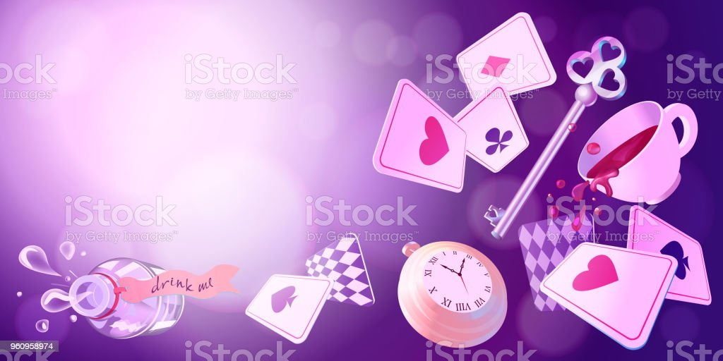 Alice in Wonderland. Playing cards, pocket watch, key, cup and poison falling down the rabbit hole. Vector background