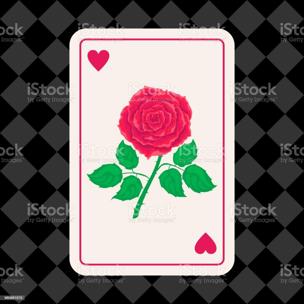 Alicia en el país de las maravillas. Cartas rosas rojas sobre fondo de ajedrez - ilustración de arte vectorial