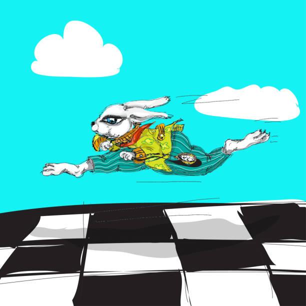 Alice au pays des merveilles en cours d'exécution lapin blanc aquarelle dessiné à la main personnage isolé - Illustration vectorielle