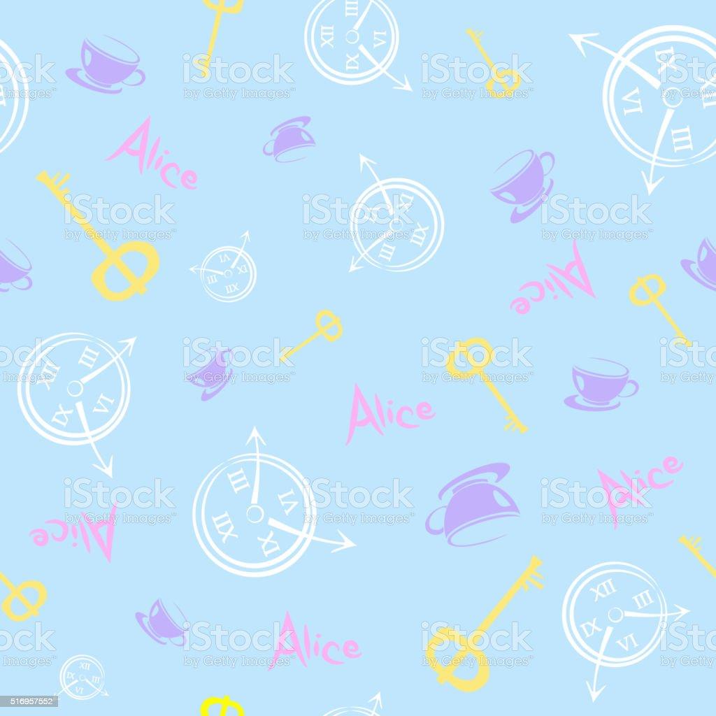 Alice in Wonderland. Seamless pattern vector art illustration