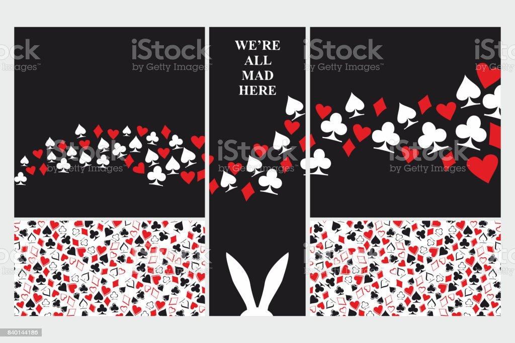 Alice in Wonderland. Set of card. vector art illustration