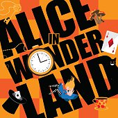 Alice in Wonderland Title with playing cards, magic mushrooms