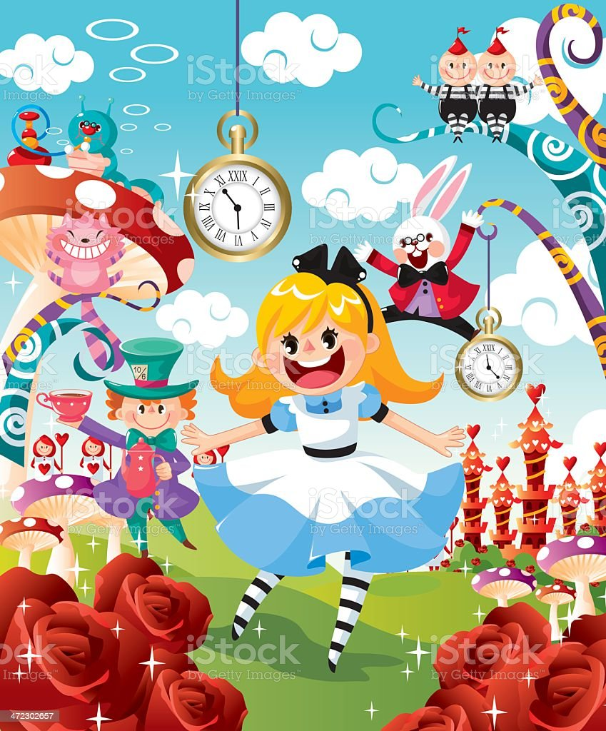 Alice in Wonderland vector art illustration