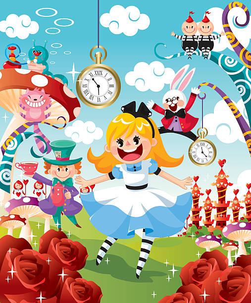 ilustrações, clipart, desenhos animados e ícones de alice no país das maravilhas - festa no jardim