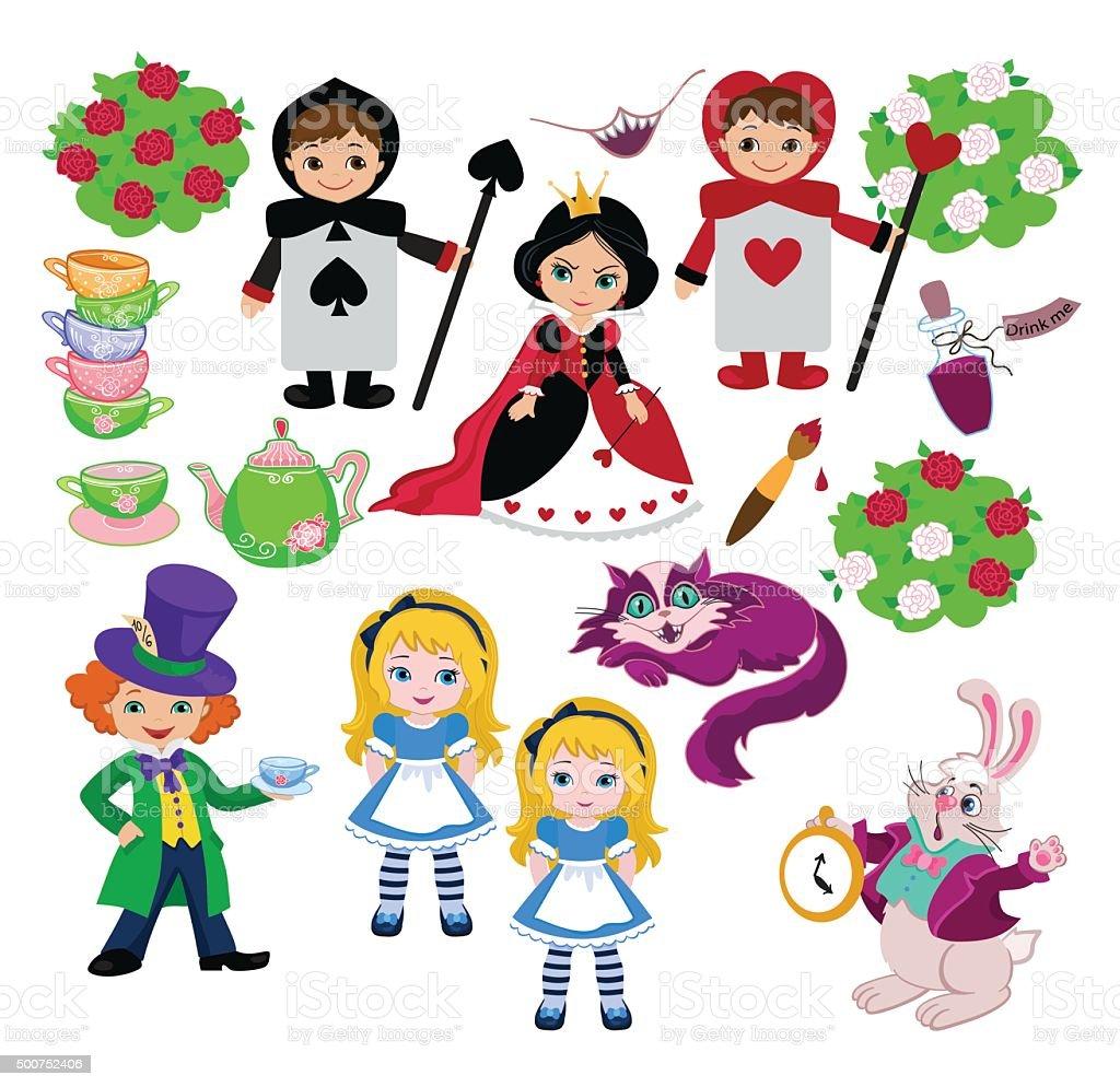 Alice in Wonderland. Vector illustration. vector art illustration