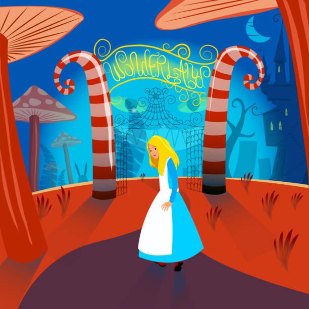 Alice au pays des merveilles Illustration vectorielle - Illustration vectorielle