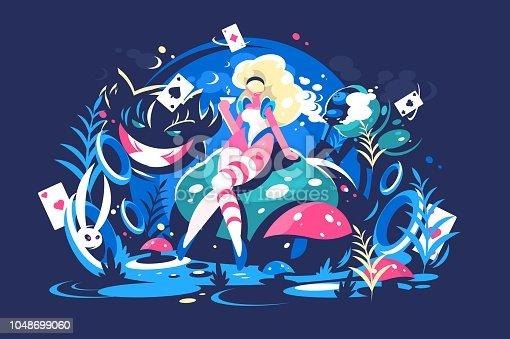istock Alice sitting in Wonderland 1048699060