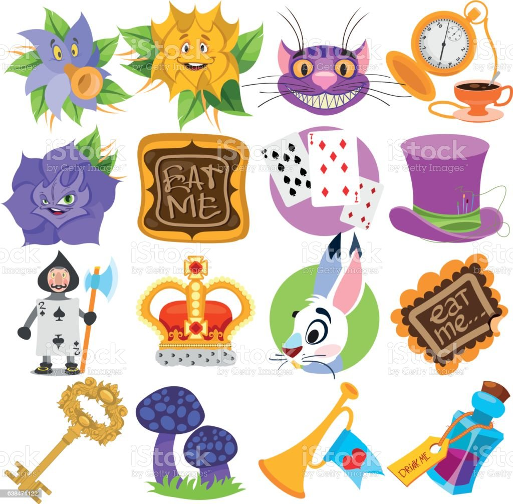 Alice's Adventures in Wonderland. Characters and objects. vector art illustration