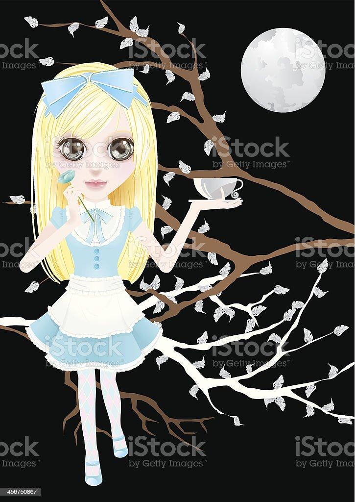 Alice de té - ilustración de arte vectorial