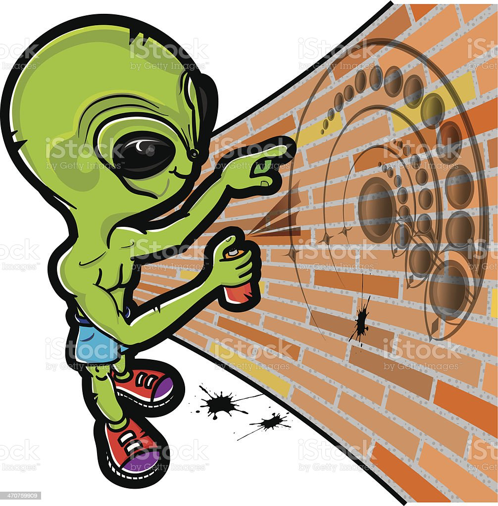 Alien and crop circle vector art illustration